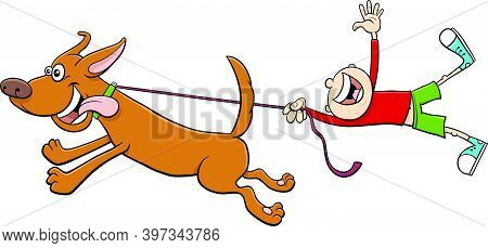 Cartoon Illustration Of Funny Dog Animal Character Pulling A Boy On A Leash