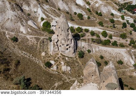 Uchisar, Turkey - October 4, 2020: This Is One Of An Ancient Houses Carved Into The Erosive Tuff Roc