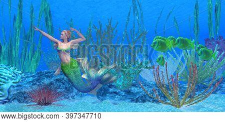 Lagoona Mermaid Underwater 3d Illustration - A School Of Lemonpeel Angelfish Watch As A Beautiful Me