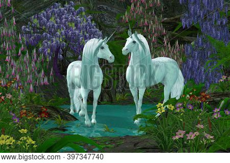 Two Unicorns In Forest 3d Illustration - A Mare And Stallion White Unicorns Meet In A Shallow Stream
