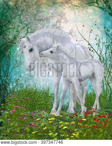 Unicorn Endearing Moment 3d Illustration - A Unicorn Foal Nuzzles Its Mother For Reassurance In The