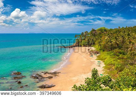 Panoramic Aerial View Of  Beach At Koh Lanta Yai Island, Thailand In A Sunny Day