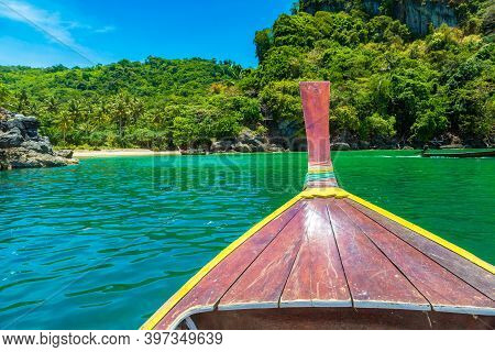 Nose Of Traditional Wooden Longtail Boat In A Sunny Day