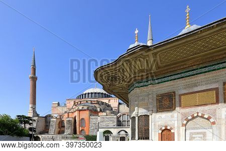 View Of Hagia Sophia And Fountain Of Sultan Ahmed Iii In The Great Square On A Sunny Day. Sultanahme