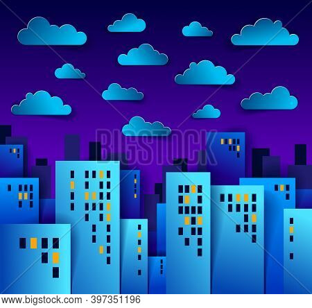 Cityscape In The Night With Clouds In The Sky Cartoon Vector Illustration In Paper Cut Kids Applicat