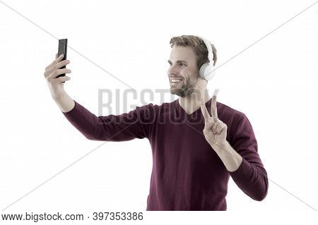 Hello To My Subscribers. Lifestyle Blogger. Handsome Man Taking Selfie Photo For Personal Blog. Onli
