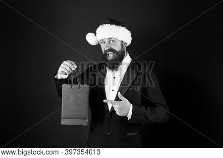 Save On Purchases. Shopping With Joy. Bearded Man Hold Shopping Bags. Buy New Year Gifts. Shopping F