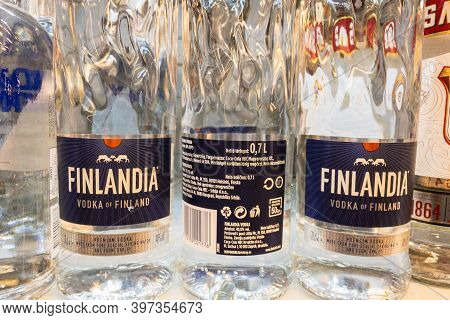 Belgrade, Serbia - November 1, 2020: Finlandia Vodka Logo On Some Bottles For Sale. Finlandia A Bran