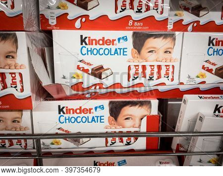 Belgrade, Serbia - November 8, 2020: Kinder Chocolate Logo On Some Of Their Chocolate Bars For Sale.