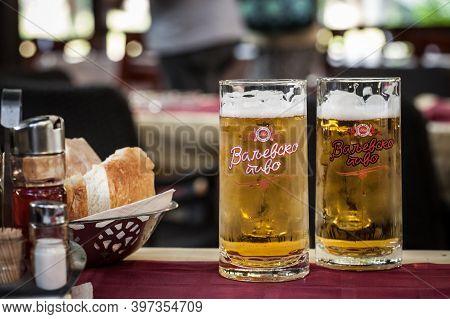 Valjevo, Serbia - August 31, 2019: Logo Of Valjevsko Pivo Beer On Cold Glasses. Valjevsko Pivo Is A