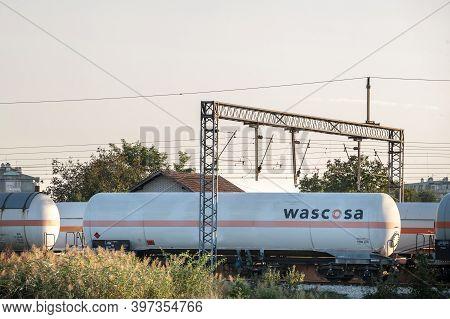 Pancevo, Serbia - October 11, 2020: Wascosa Logo On One Of Their Cistern Rail Cars In Pancevo. Wasco