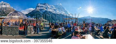 Grindelwald Switzerland - 29 March 2017: Concert Of English Rock Band In Hight Mountain Oldtown At 2