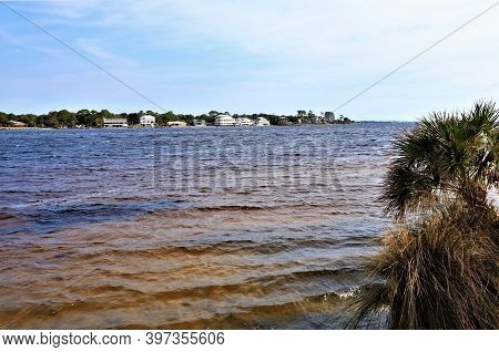 A Beautiful View Of The Mainland From Opposite Coast Of The Gulf Of Mexico, From Santa Rose Island,