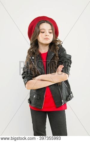 Be Proud, Be Junior. Little Baby Girl On Yellow Background. Little Child Keeping Arms Crossed. Cute