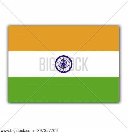 India Flag, Great Design For Any Purposes. Ashoka Chakra. Vector Icon. Green India Flag On White Bac