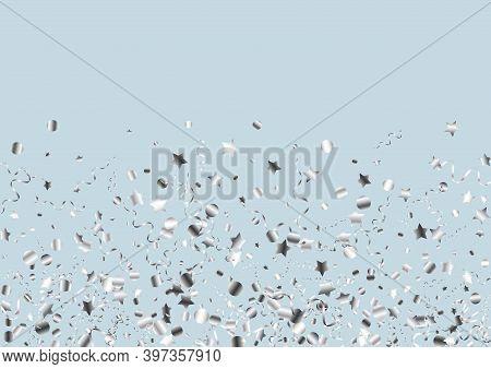 Silver Streamer Happy Vector Blue Background. Shiny Star Invitation. Serpentine Carnival Poster. Sil