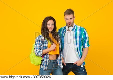Comfortable And Trusting Dating Relationship. Heterosexual Dating Couple Yellow Background. Sexy Gir
