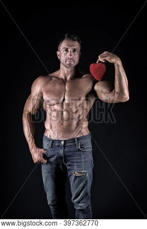 Keep Your Heart Healthy This Valentines Day. Strong Athlete Hold Valentines Heart. Valentines Day Wo