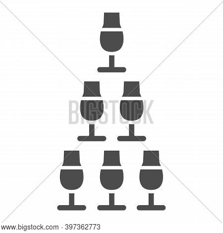 Pyramid Of Glasses Solid Icon, Bartenders Day Concept, Glasses Pyramid Stand Sign On White Backgroun