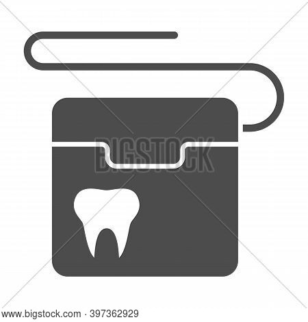 Dental Floss Solid Icon, International Dentist Day Concept, Floss To Clean Teeth Sign On White Backg