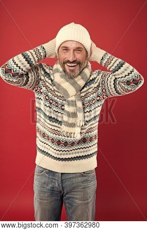 Knitted Accessories. Winter Weather Style. Winter Collection. Mature Man Enjoy Warmth And Comfort. C