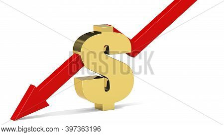Golden Dollar Sign With Red Arrow Going Down, 3d Rendering