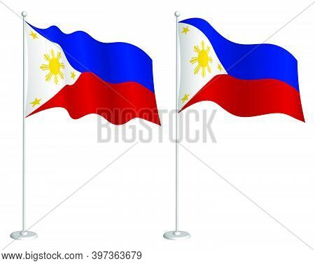 Flag Of Republic Of Philippines On Flagpole Waving In Wind. Holiday Design Element. Checkpoint For M