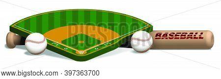 Sports Wooden Baseball Bat, Ball And Baseball Field Layout On White Background. Sport Design Element