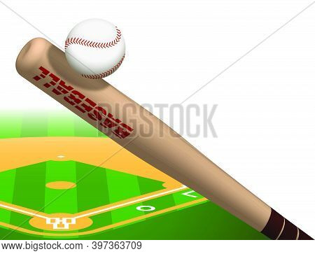 Sports Wooden Baseball Bat Hits Flying Ball. American National Sport. Active Lifestyle. Realistic Ve