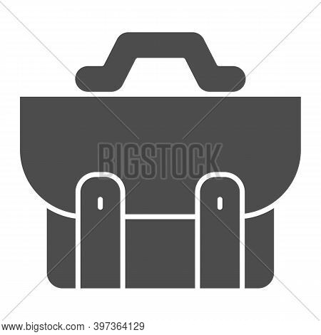 Briefcase Solid Icon, School Concept, School Bag Sign On White Background, Diplomat For Document Ico