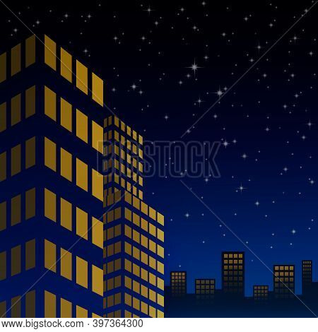 Night Cityscape With Starlight On The Colorful Sky