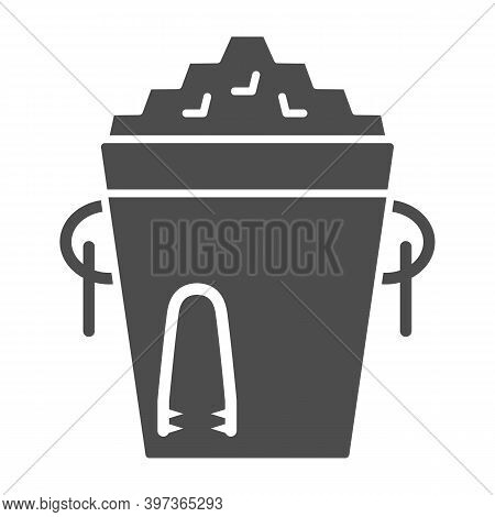 Ice Bucket And Tongs Solid Icon, Bartenders Day Concept, Metal Bucket With Ice Sign On White Backgro
