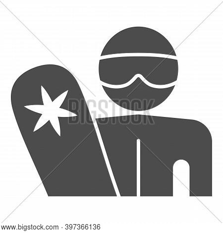 Snowboarder With Snowboard Solid Icon, Winter Sports Concept, Man With Snowboard Sign On White Backg