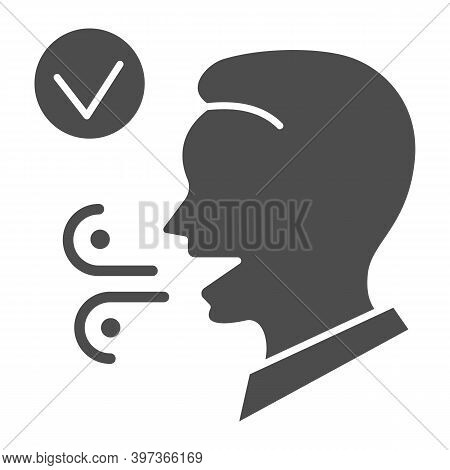 Fresh Breath Solid Icon, International Dentist Day Concept, Male With Healthy Fresh Mouth Breath Sig