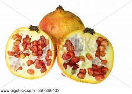 Close Up On Pomegranate Isolated On White Background