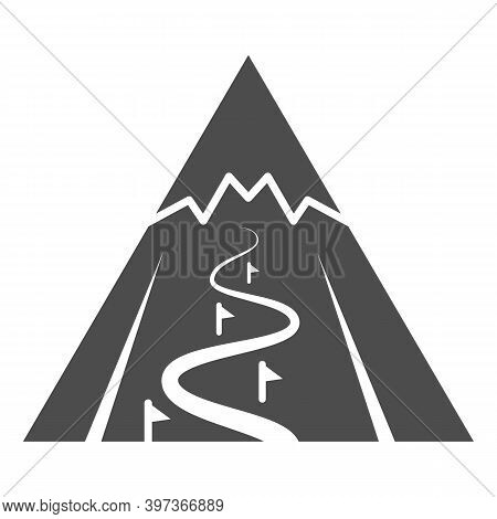 Mountain Slope For Descent Solid Icon, World Snowboard Day Concept, Ski Track Sign On White Backgrou