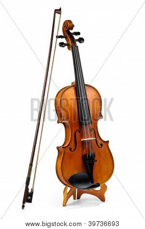 Violin And Fiddle Stick Isolated On White