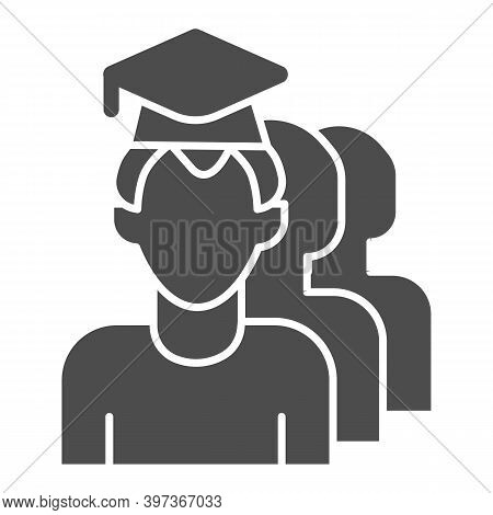 Student And Pupils Solid Icon, School Concept, Graduate And Students Sign On White Background, Man W