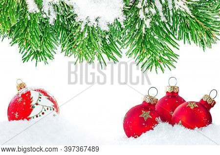 Christmas Border With Fir Branches, Snow And Red Balls Isolated On White Background. Merry Christmas