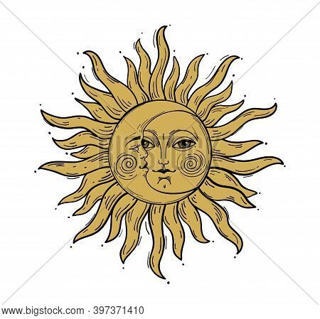 Bohemian Hand Drawing, Esoteric Sketch, Engraving Stylization. Golden Sun And A Crescent Moon With A