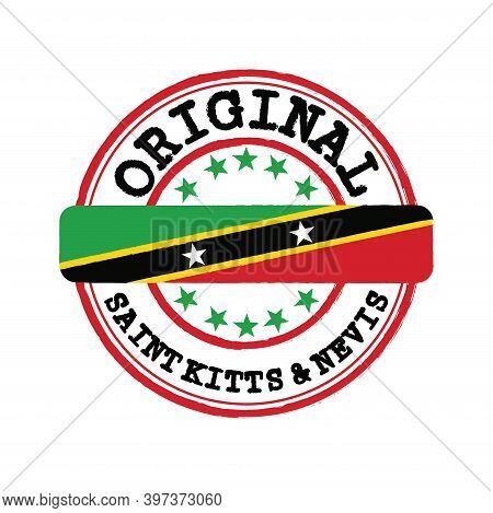 Vector Stamp Of Original Logo With Text Saint Kitts And Nevis And Tying In The Middle With Nation Fl