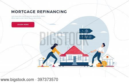 Mortgage Refinancing Web Template. Co-borrowers Push, Drag House To The Bank For House Pawning With