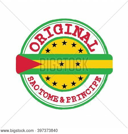 Vector Stamp Of Original Logo With Text Sao Tome And Principe And Tying In The Middle With Nation Fl