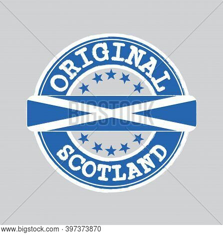 Vector Stamp Of Original Logo With Text Scotland And Tying In The Middle With Nation Flag. Grunge Ru