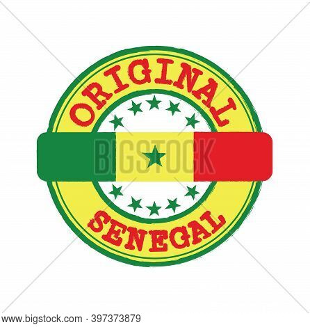 Vector Stamp Of Original Logo With Text Senegal And Tying In The Middle With Nation Flag. Grunge Rub