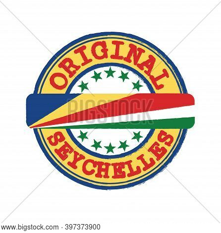 Vector Stamp Of Original Logo With Text Seychelles And Tying In The Middle With Nation Flag. Grunge