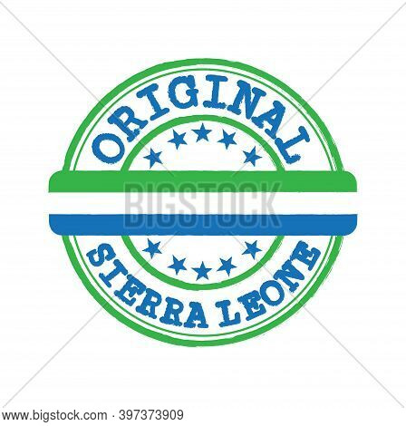 Vector Stamp Of Original Logo With Text Sierra Leone And Tying In The Middle With Nation Flag. Grung
