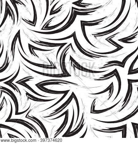 Vector Seamless Pattern Of Black Flowing Lines And Corners Isolated On White Background.water Or Flo