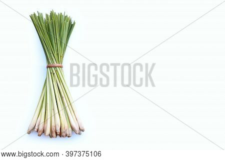 Fresh Lemongrass On A White Background. Top View