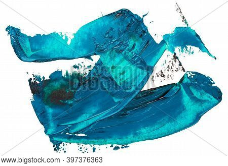 Hand Drawn Isolated Oil Paintbrush Stripe Zig Zag Template With Deep Dirty Turquoise Color And Esp 1